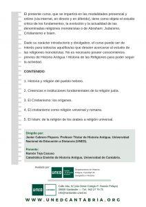 Religiones Monoteístas_2º_2018-19. Curso en UNED Cantabria, también online