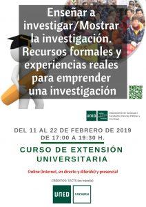 Enseñar a investigar, curso UNED Cantabria, online y presencial